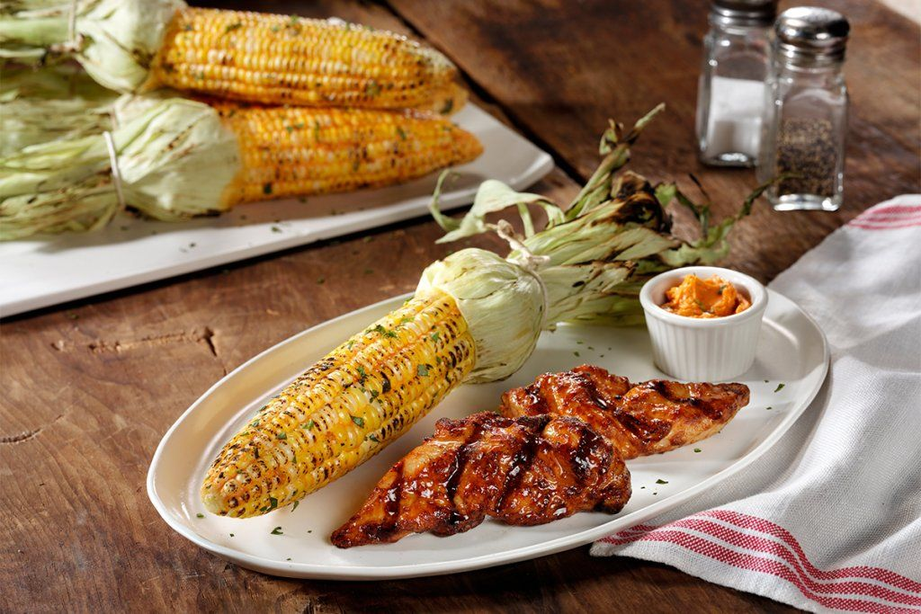 cooked perfect recipe chicken tenders with grilled corn and butter