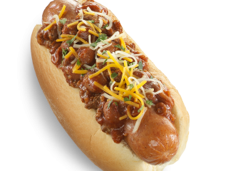 home market foods bahama mama gourmet hot dog with chili cheese cilantro