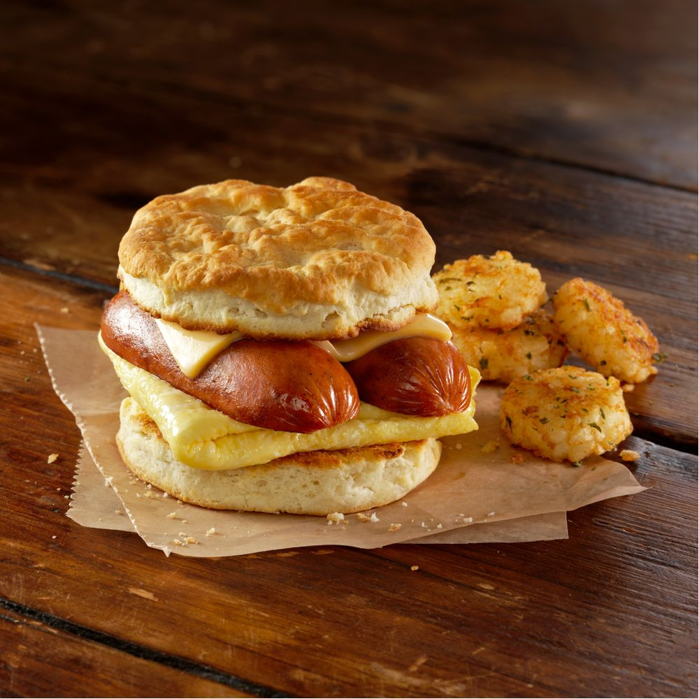 home market foods bahama mama split sausage on a biscuit