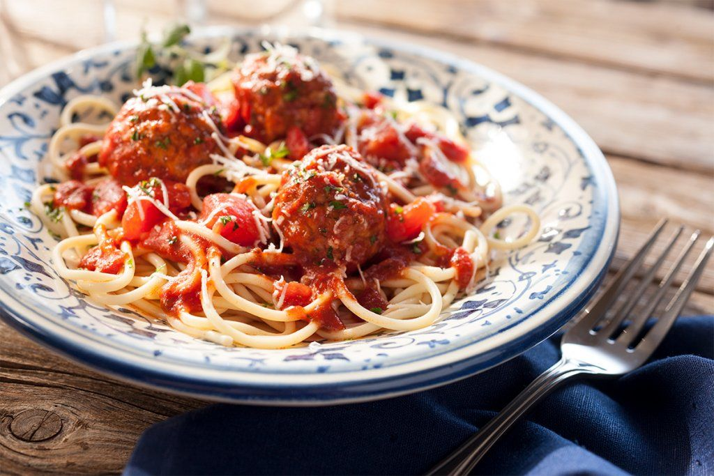 cooked perfect italian style meatballs with pasta